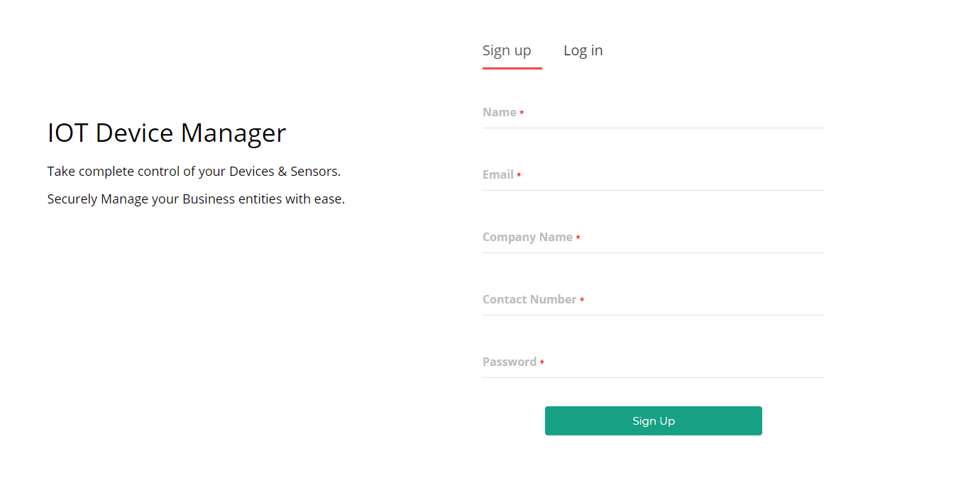 Sign-up device manager